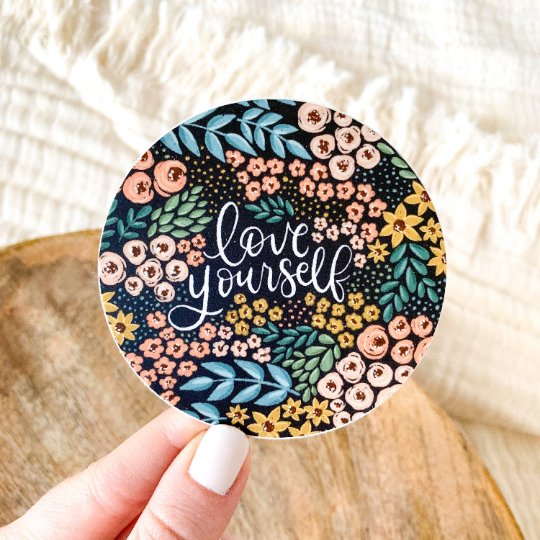 Love Yourself Floral Circle Sticker