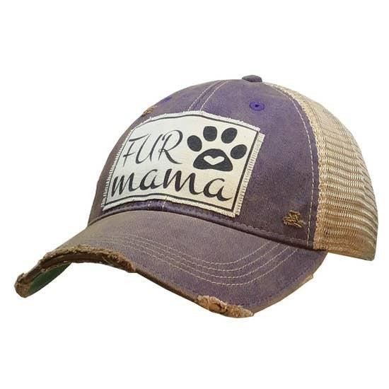"Purple or Navy ""Fur Mama"" Distressed Trucker Cap"