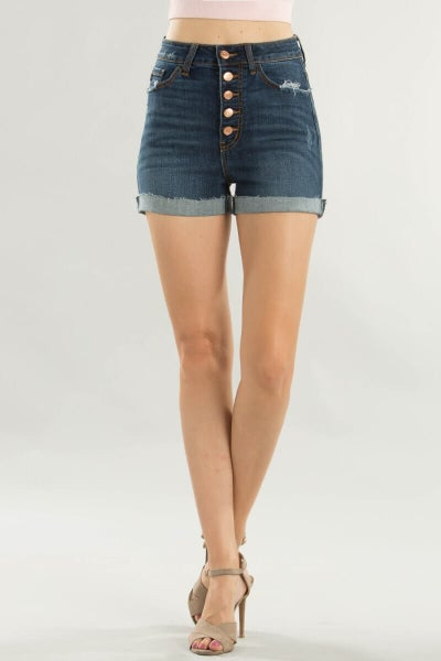 KanCan High Rise Button Fly Shorts