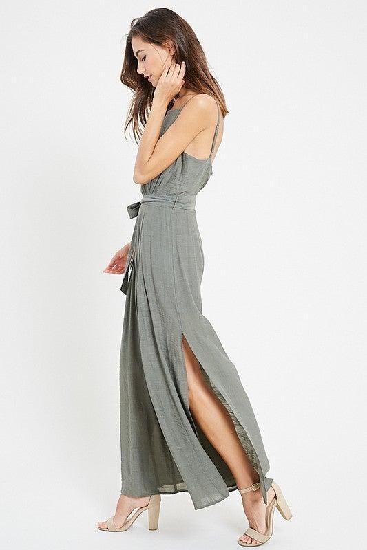 Mauve or Olive Belted Jumpsuit