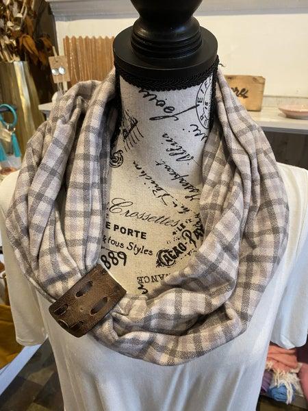 BXB Dove Plaid Eternity Scarf w/ Leather Cuff
