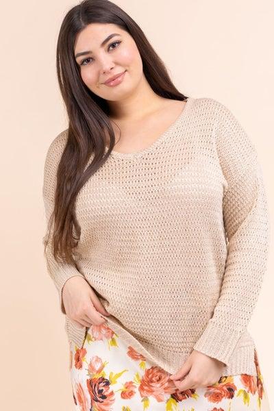 Plus Beige V Neck Sweater
