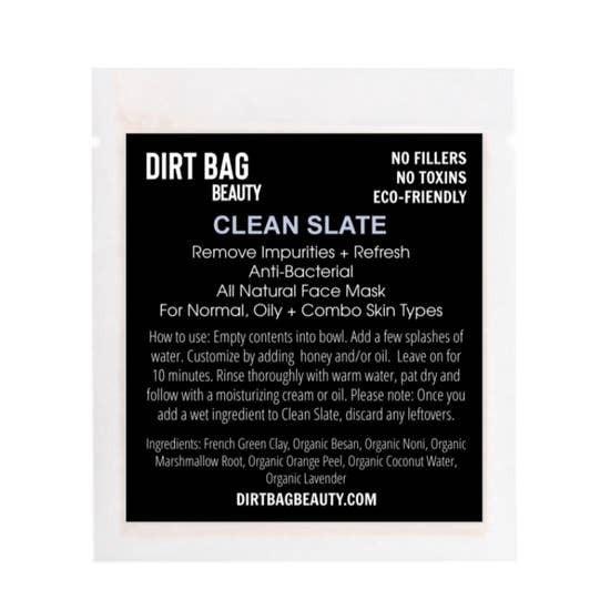 """Dirt Bag Beauty """"Clean Slate"""" Vegan Facial Mask"""