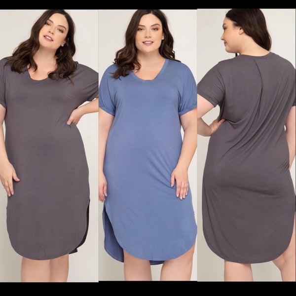 Plus Drop Shoulder Midi Shirt Dress