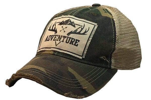 "Camo ""Adventure"" Distressed Trucker Hat"