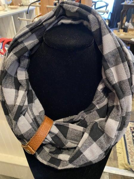 BXB Grey & Black Buffalo Check Eternity Scarf w/ leather cuff