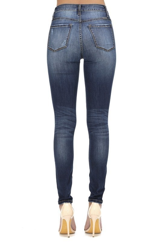 KanCan Medium Wash Button Fly High Rise Skinny Jeans