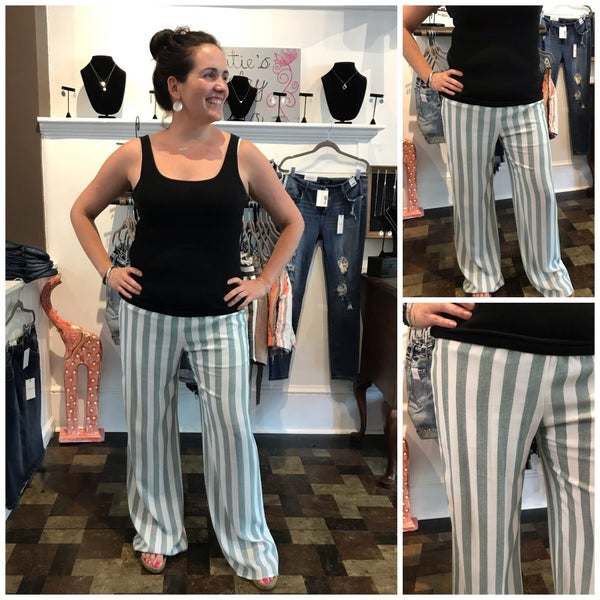 Green and White Palazzo Pants