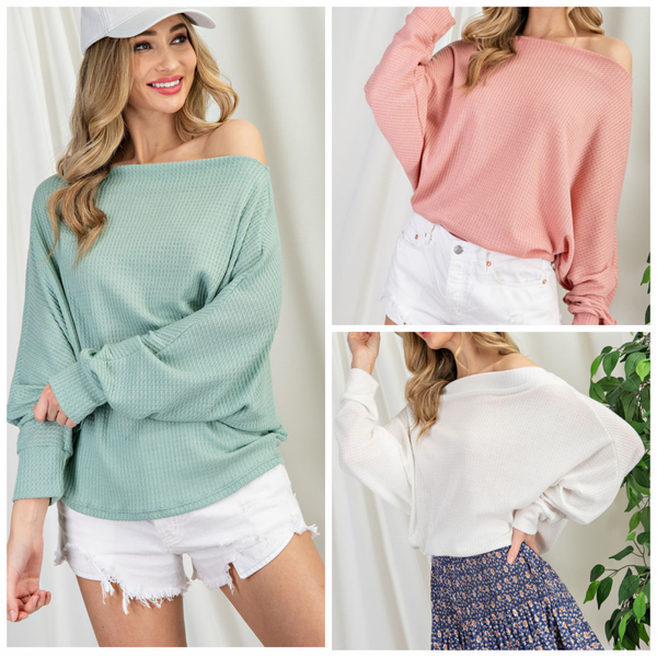 The Lia Top (off white, mint, dusty rose)