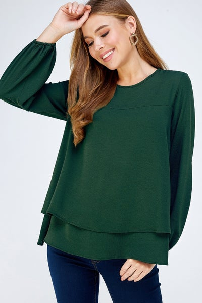 Red or Hunter Green Solid Layered Blouse