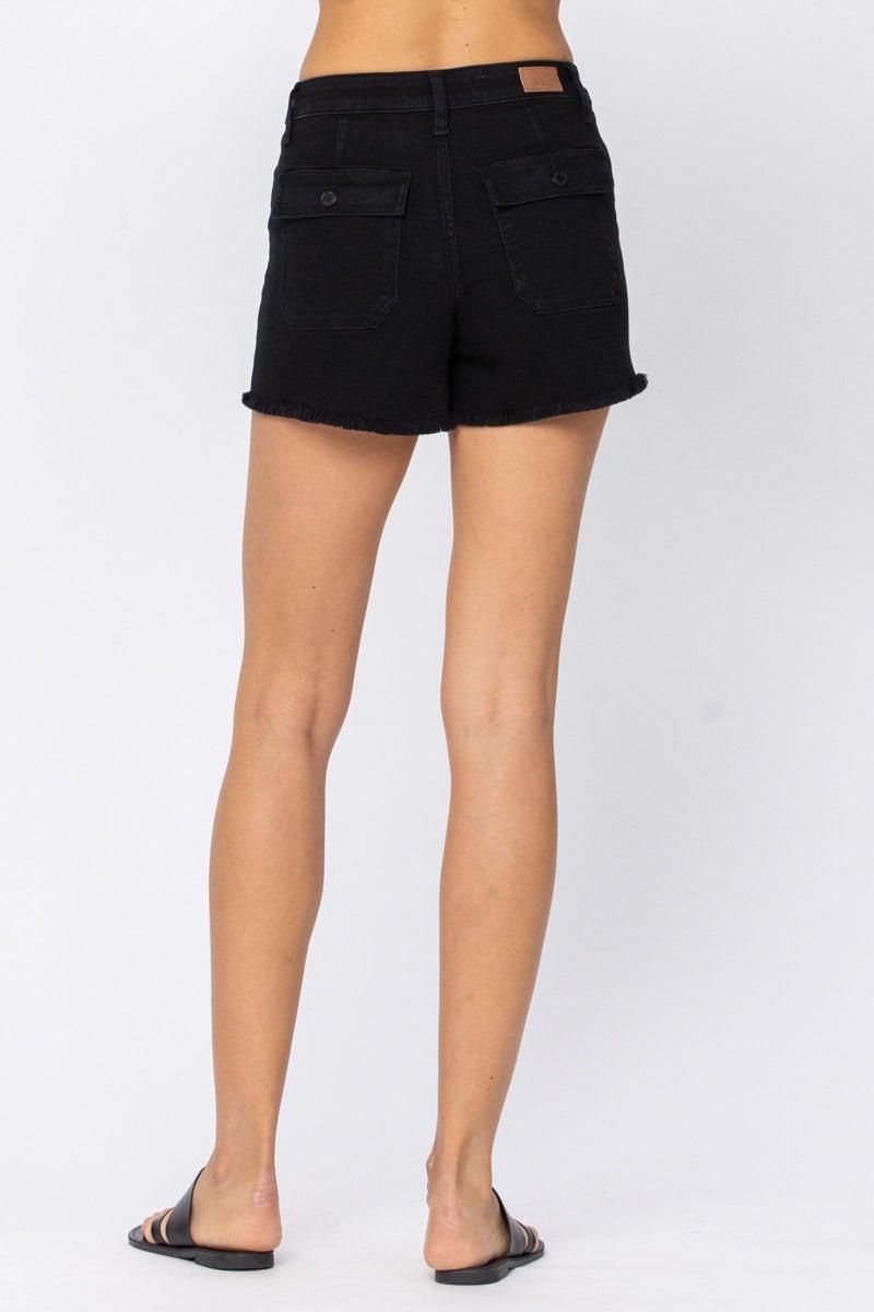 Judy Blue Black Cargo Patch Pocket Shorts
