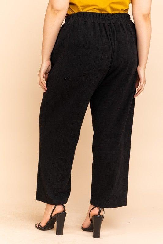 Reg/Plus Black Waist Button Detail Pants