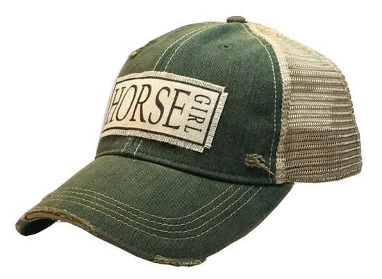 "Green ""Horse Girl"" Distressed Trucker Cap"