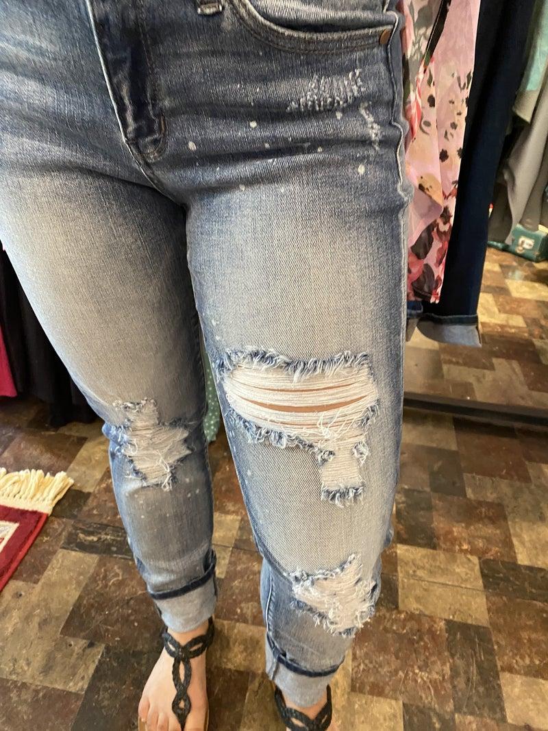 Judy Blue Bleach Splattered Boyfriend Jeans