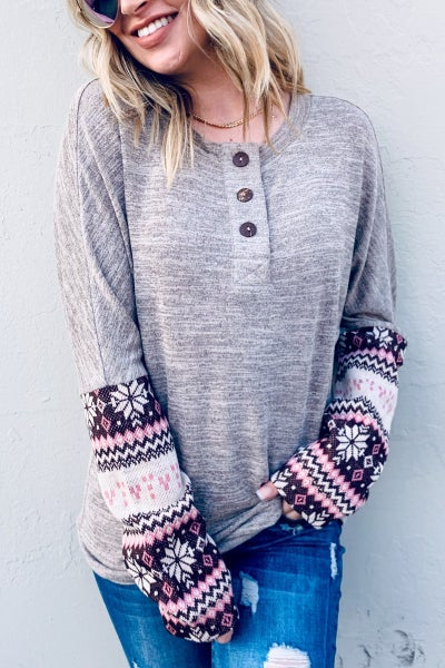 Multi Printed Sleeve Casual Knit Top