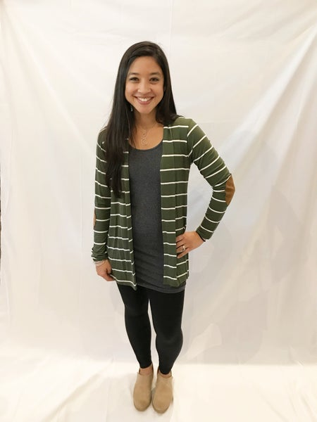 Long Sleeve Striped Cardigan with Elbow Patches