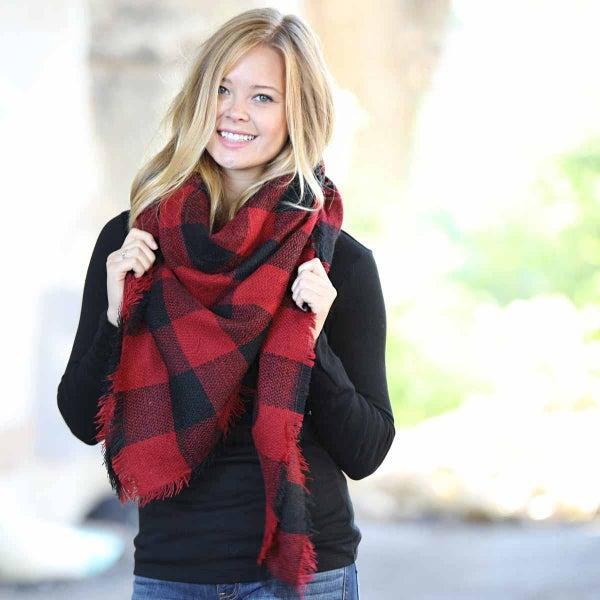 Funky Monkey Red/Black Buffalo Check Blanket Scarf
