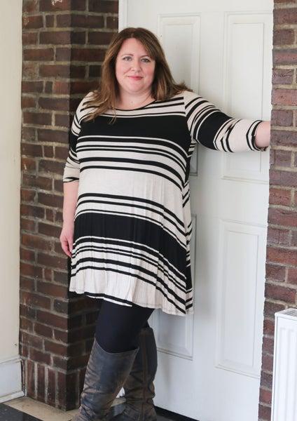 Plus Size Black & Cream Striped Swing Dress w/ side pockets