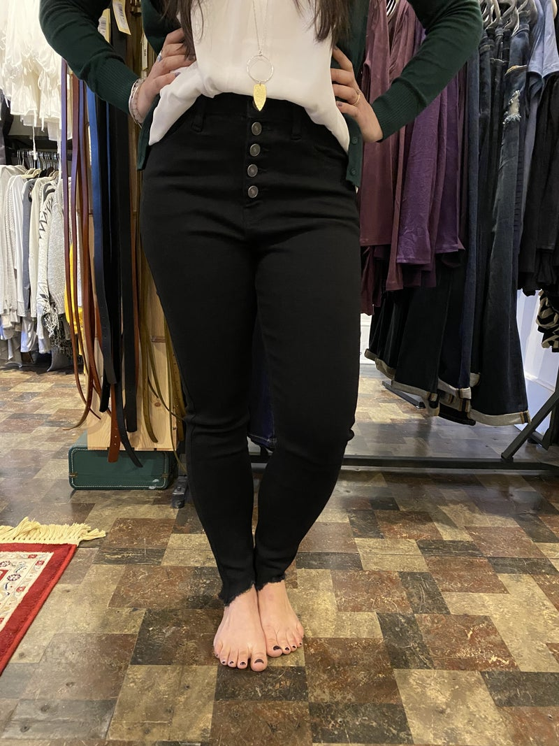 KanCan Black Button Fly Super High Rise Skinny Jeans