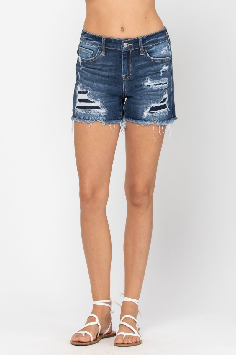 Judy Blue Mid-Rise Patch Cut Off Shorts