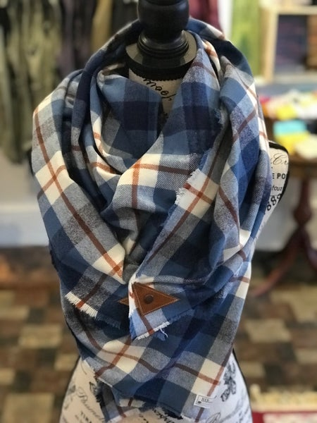 BXB Blue & Rust Plaid Blanket Scarf w/ Leather Snap Detail