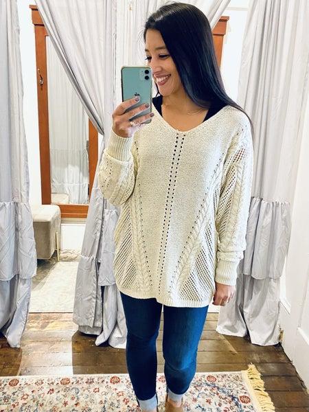 The Keyla Sweater (cream, teal)