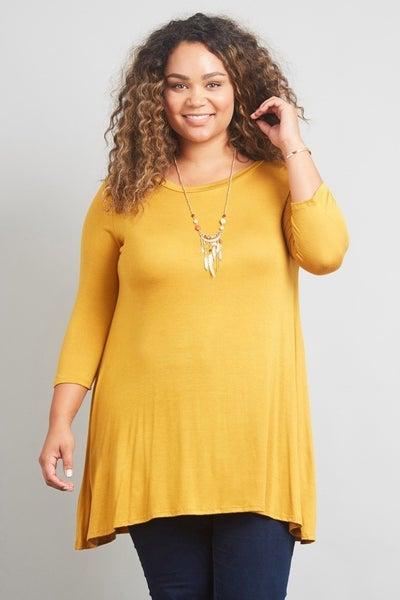 Plus Size Heather Grey, Jade, or Purple 3/4 Length Sleeve A Line Tunic
