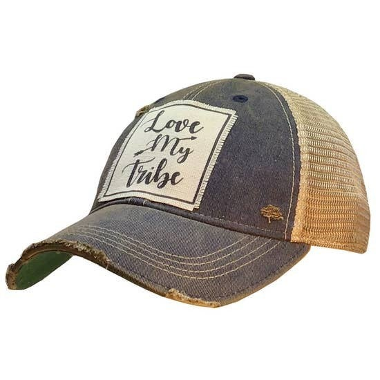 "Navy Blue ""Love My Tribe"" Distressed Trucker Cap"