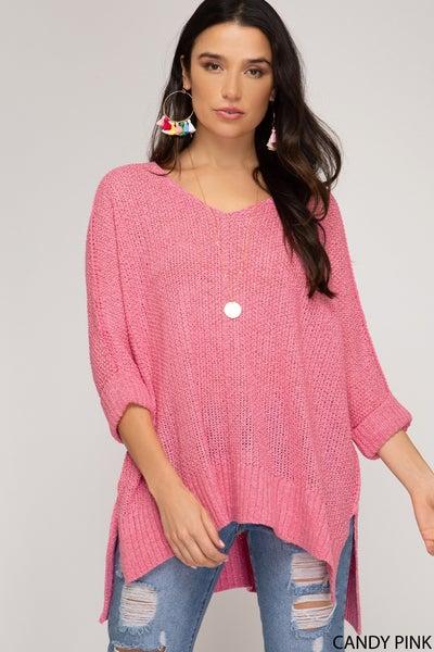 3/4 Sleeve Hi Low Sweater