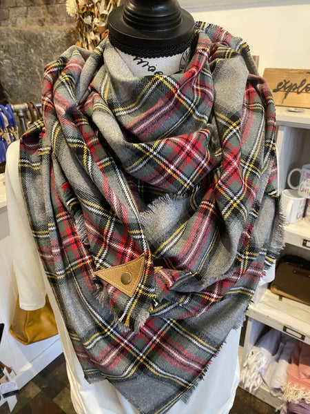 BXB Grey Red & Yellow Plaid Blanket Scarf w/ Leather Snap Detail
