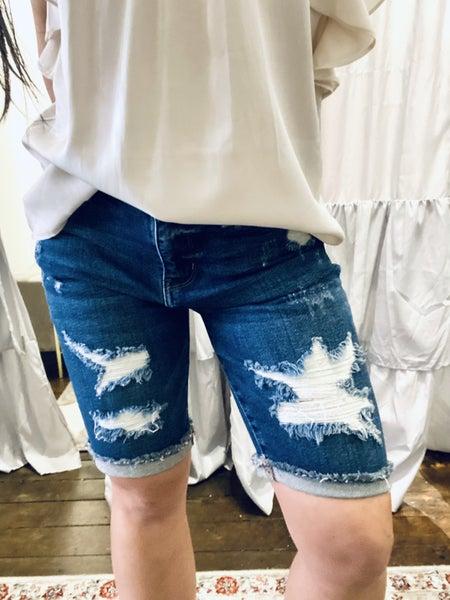 Judy Blue Destroyed Bermuda Shorts