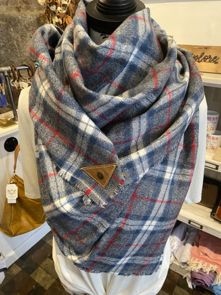 BXB Blue White & Red Plaid Blanket Scarf w/ Leather Snap Detail
