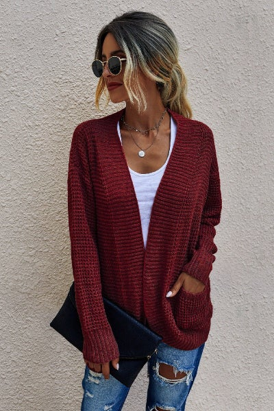 The Jasmine Cardigan (grey, wine)