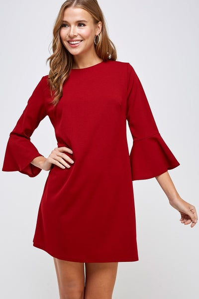 Red or Black 3/4 Bell Sleeve Shift Dress