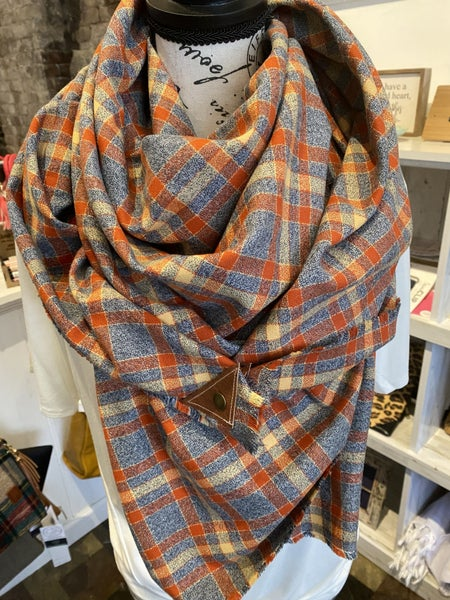 BXB Gray & Rust Plaid Blanket Scarf w/ Leather Snap Detail