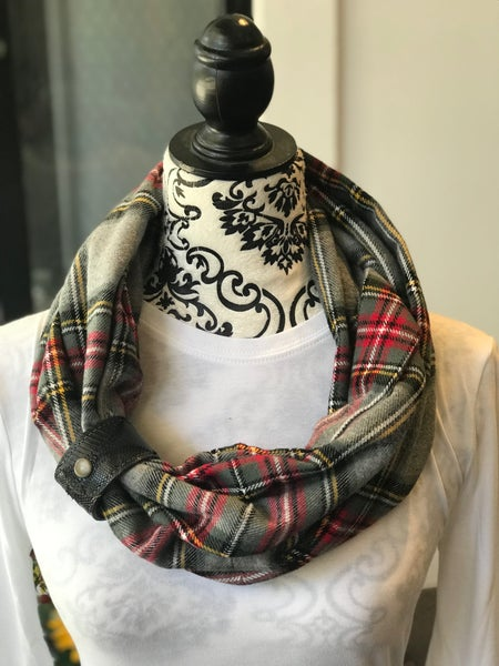 BXB Grey Red & Yellow Plaid Eternity Scarf with Leather Cuff