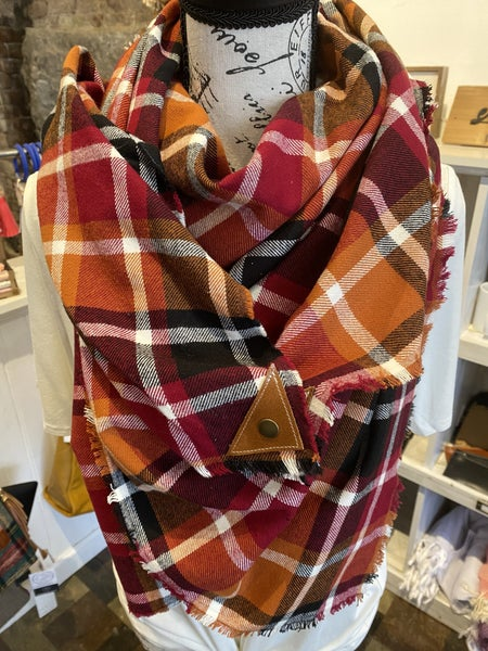 BXB Harvest Plaid Blanket Scarf w/ Leather Snap Detail
