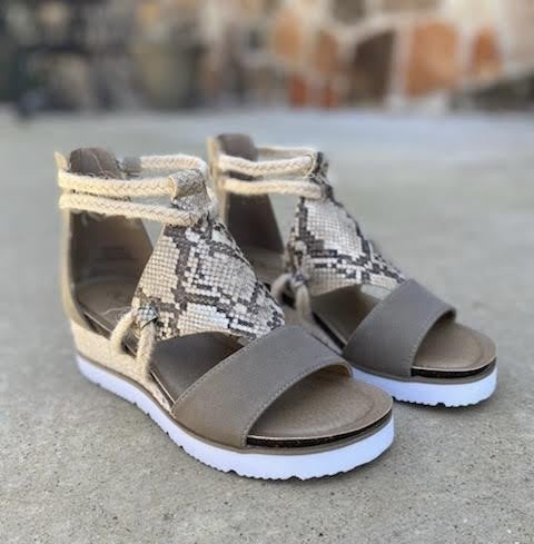 Corky's Snakeskin Wedge Sandals