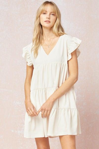 Natural V Neck Ruffle Dress