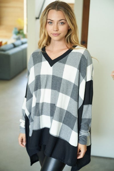 Long Sleeve Buffalo Plaid Knit Top