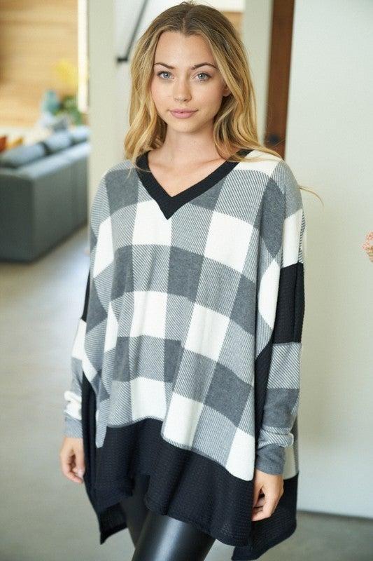 Long Sleeve Buffalo Plaid Knit Top