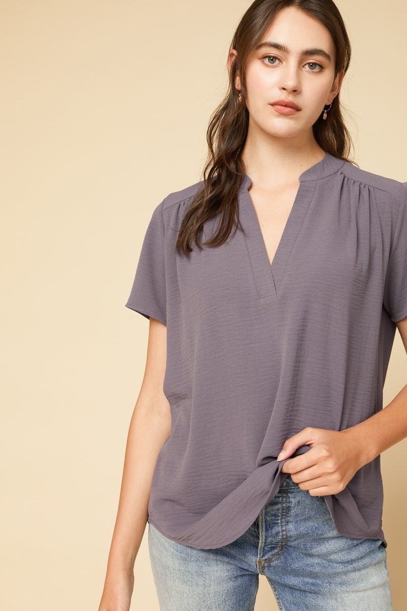Grey V Neck Top S to 2X