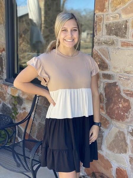 Beige Color Block T-Shirt Dress