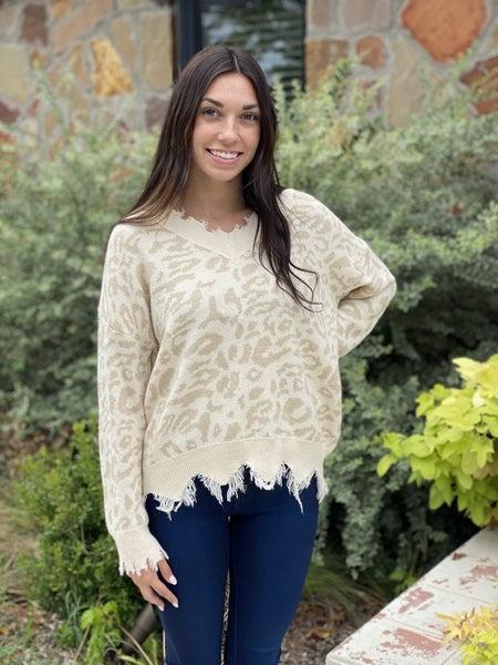 Tan Leopard Distressed Sweater