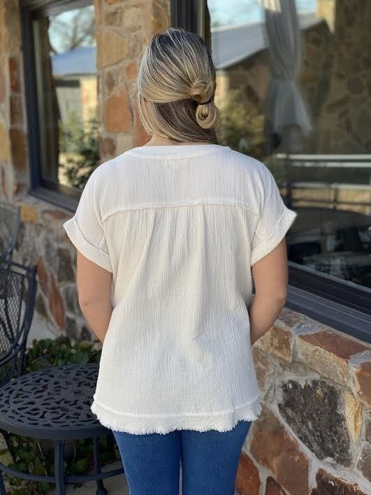 Cream V Neck Top with Pockets