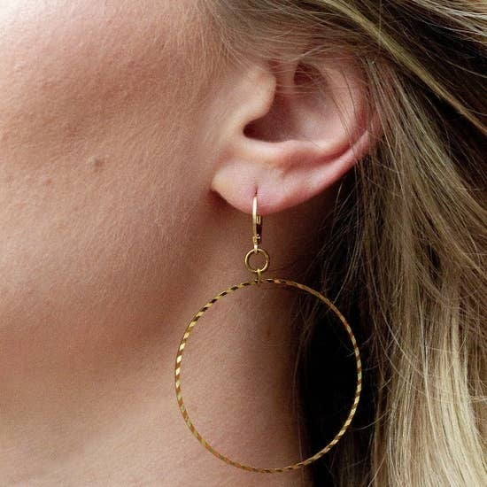 Texas Made Gold Hoops