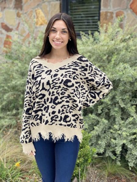 Black Distressed Leopard Sweater