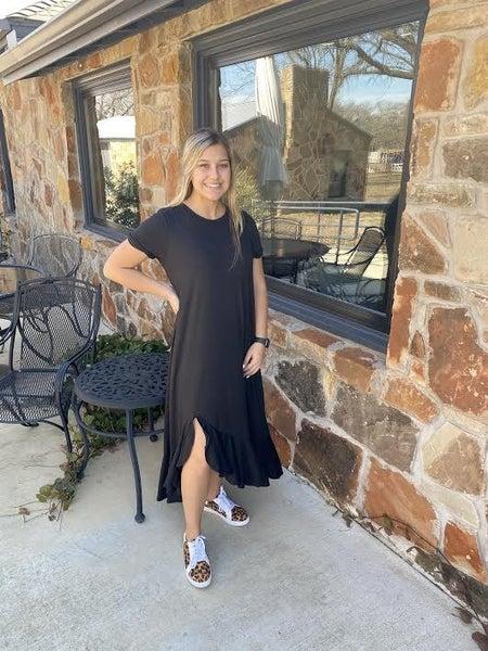 Black Ruffled Hem T-Shirt Dress