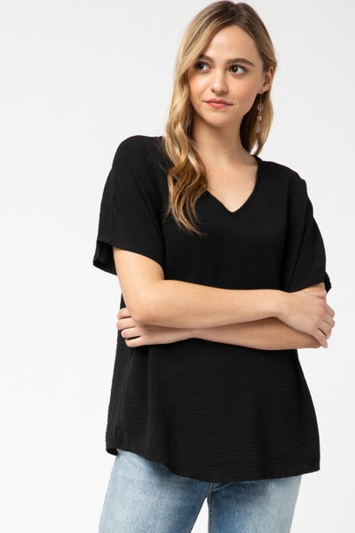 Black V Neck Top S to 2X