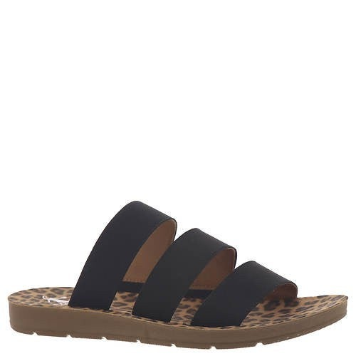 Corky's Black Sandals with Leopard Bottom